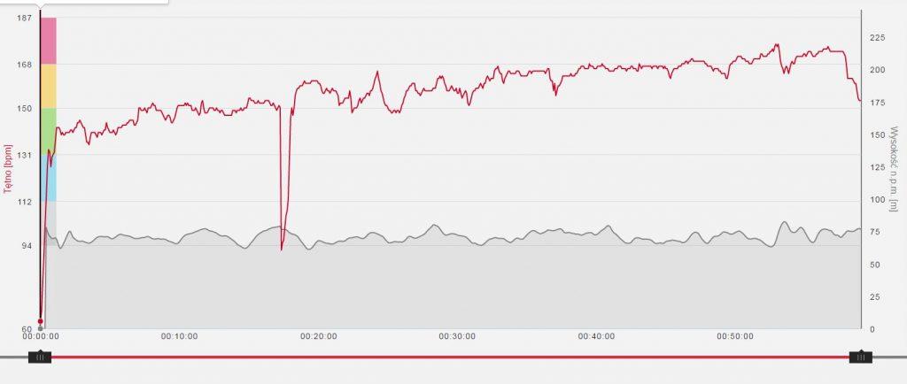 To wykres niedzielnego biegu. W jednym tempie, a puls rośnie. Ewidentnie brak formy...